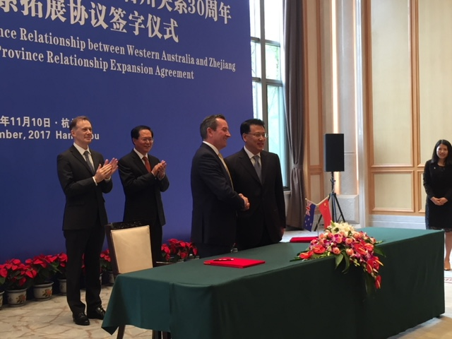 MOU Signing Ceremony with Zhejiang Province as Sister State of WA